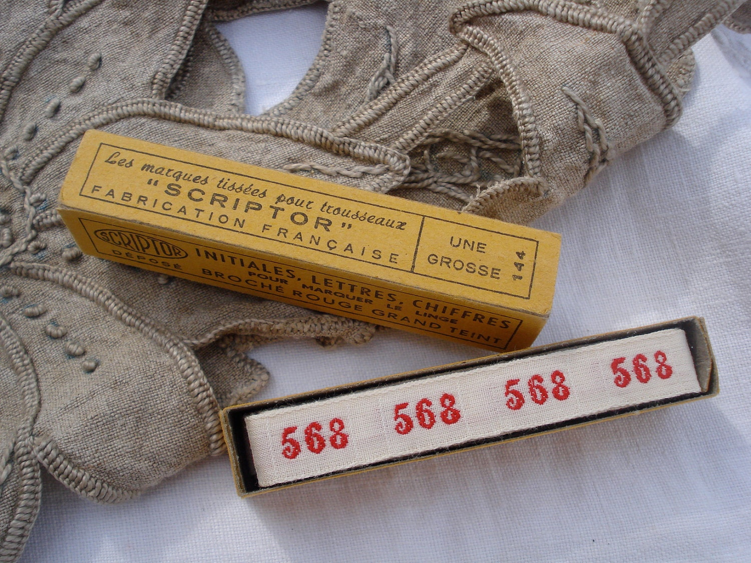vintage french laundry label numbers 568 linen kitchen cloth.... - sissidavril