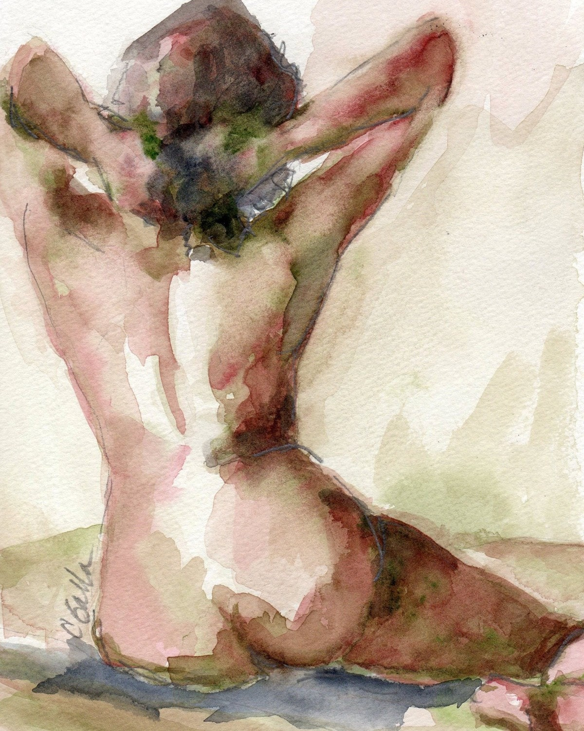 Nude Female Figure Watercolor Painting Giclee Print  8 x 10 - CGallaFineArt