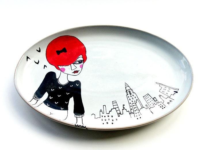 FRANKIE - handpainted original illustrated serving plate