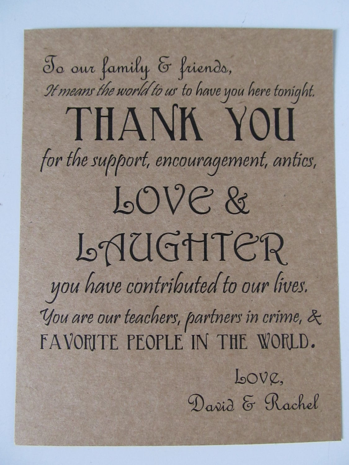 Wedding Thank You Card guests dinner plates or wedding by AlRoad