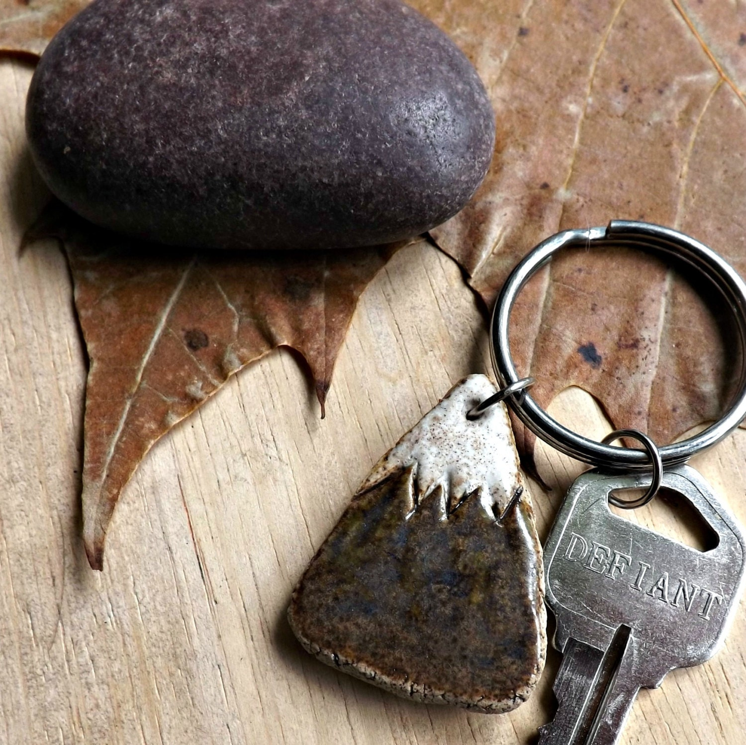 Stoneware Mountain Key Chain, Made to Order - StudioByTheForest