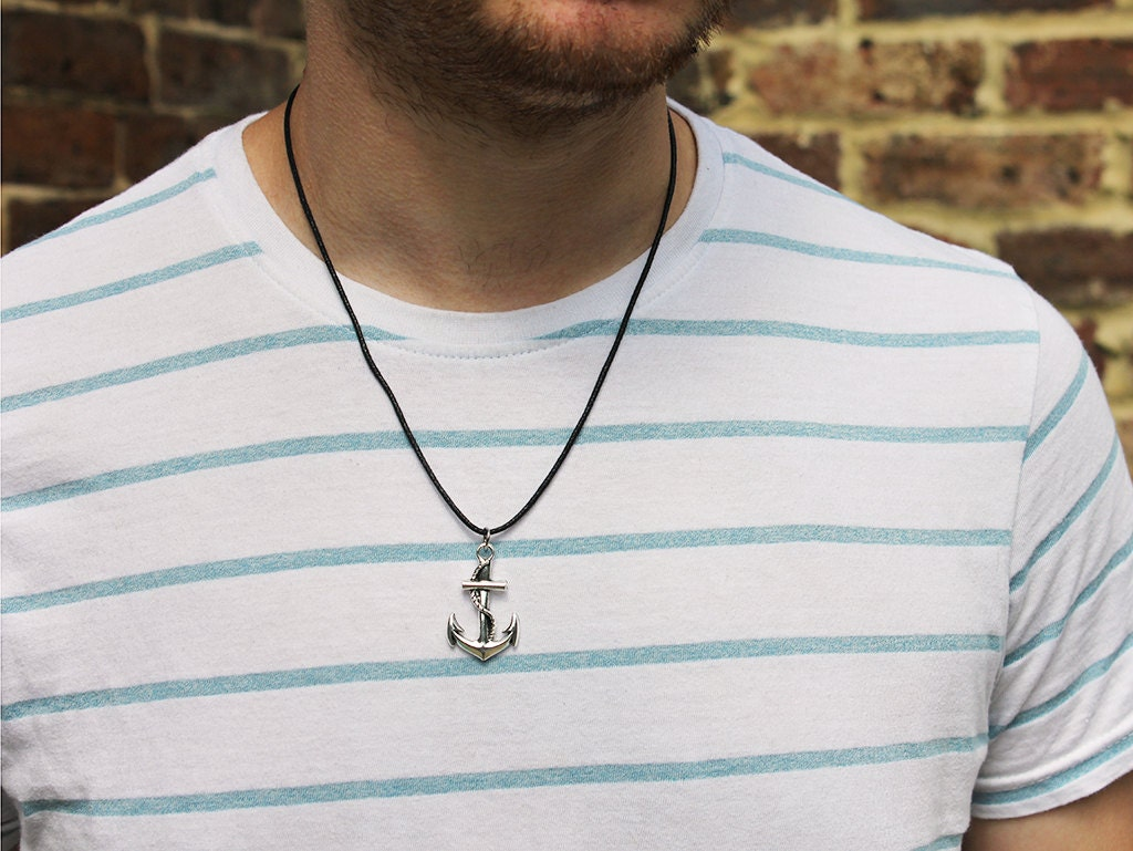 Mens Silver Anchor Necklace Silver Anchor Pendant Mens Necklaces Mens Jewellery Nautical Necklace Anchor and Rope