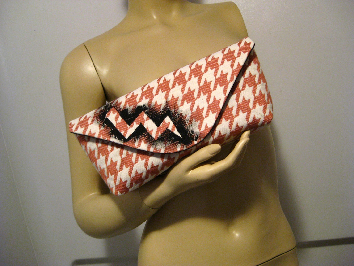 "Hand Painted Lightning Bolt on Upcycled Houndstooth ""A"" Clutch"