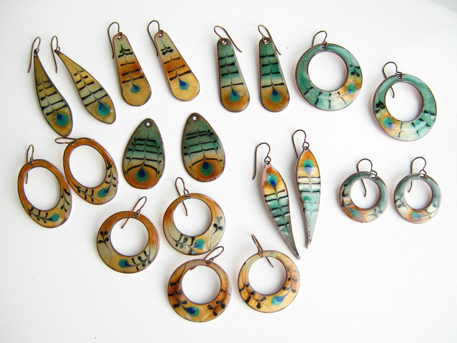 Peacock feather hoop earrings- copper enamel with niobium earring hooks