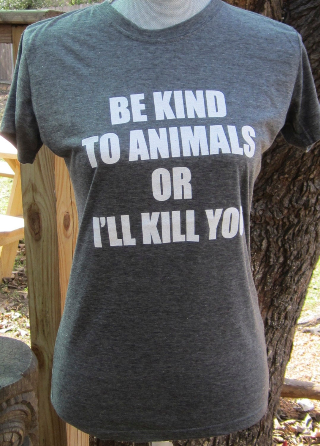 Animal rights rescue remake Charcoal grey t shirt Be kind to animals. Tongue and cheek vegan-Womens XL Benefits dog cat rescue - VonStreichergoods
