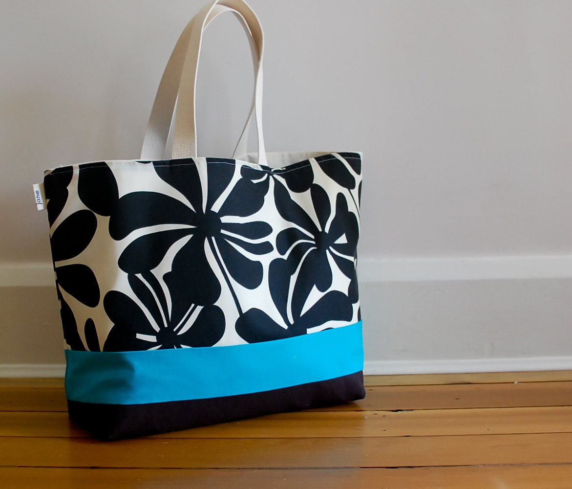 EXTRA Large Beach Bag // Tote  in Black Floral with a pinch of Turquiose