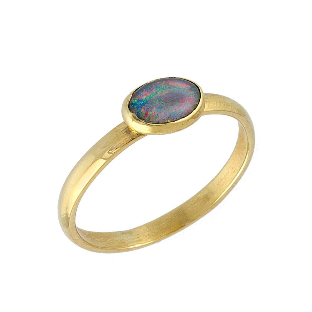 Vintage Polished Natural Opal Engagement Ring by JulietAndOliver