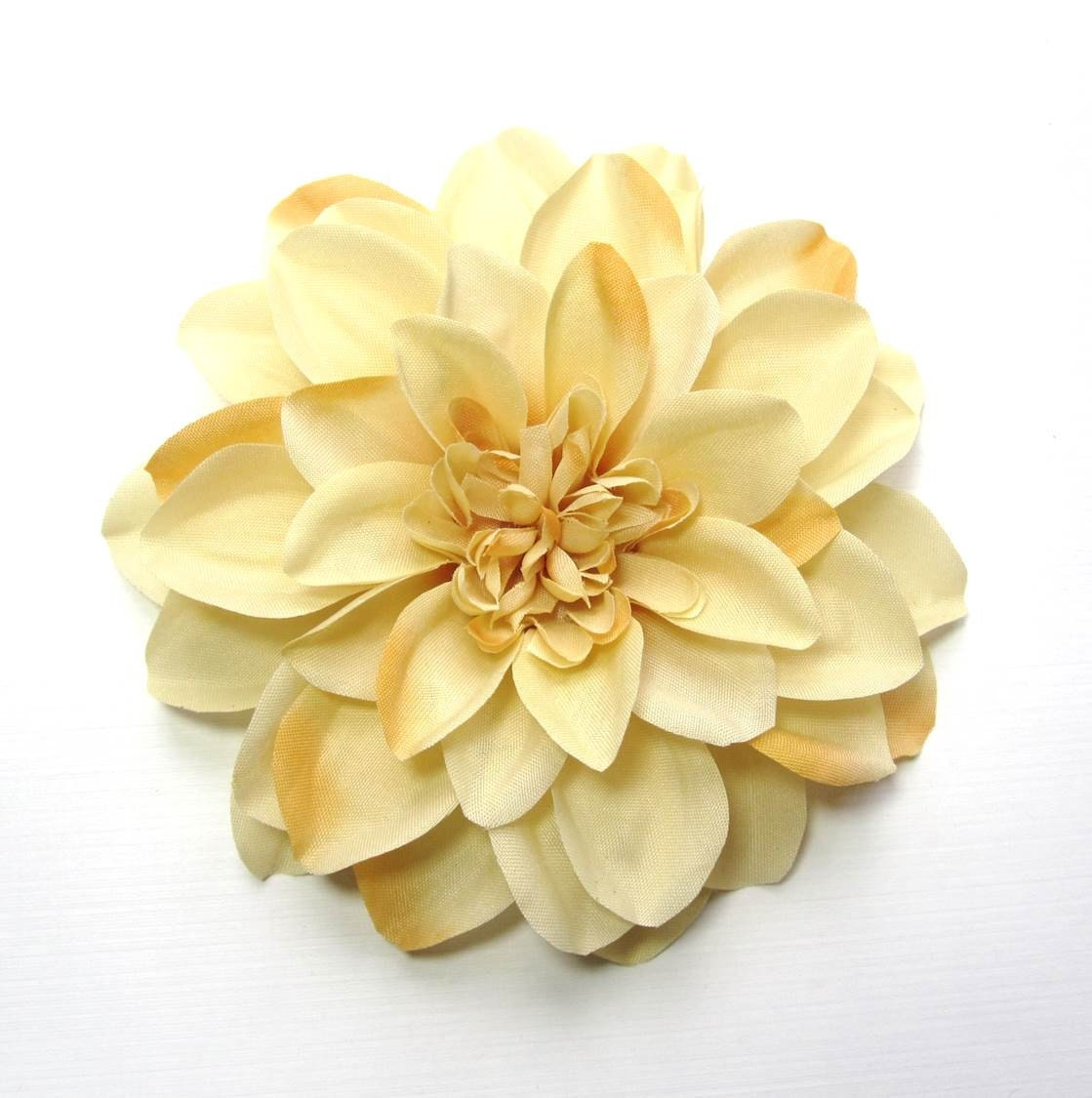 Fabric Flower Hair Accessory: Pin, Hair Clip, or Fascinator - Dark Cream Dahlia - HairFair