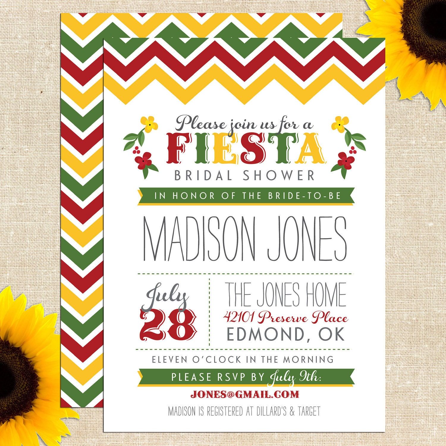fiesta bridal shower invitation printed by yellowbrickgraphics. Black Bedroom Furniture Sets. Home Design Ideas