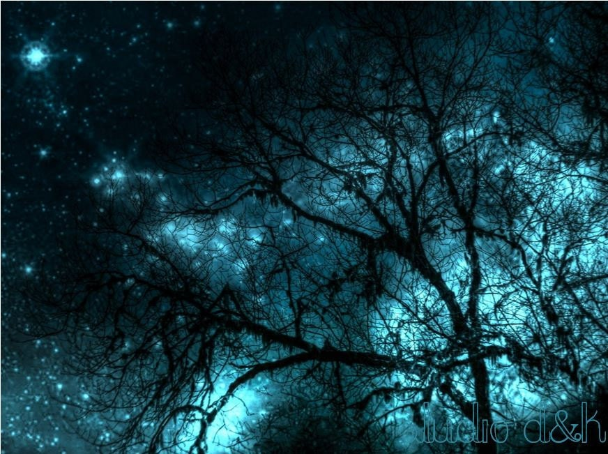 Night Sky Photography - Fine Art Photography Print in Blue Turquoise Teal and Black - Also Available on Gallery Wrapped Canvas - StudioDandK