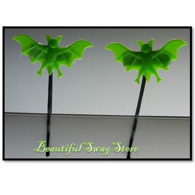 Green Bats Hair Pins