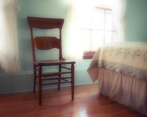 Ethereal home photograph  - relax read book, bedroom feminine aqua window light chair bed pastel - FirstLightPhoto