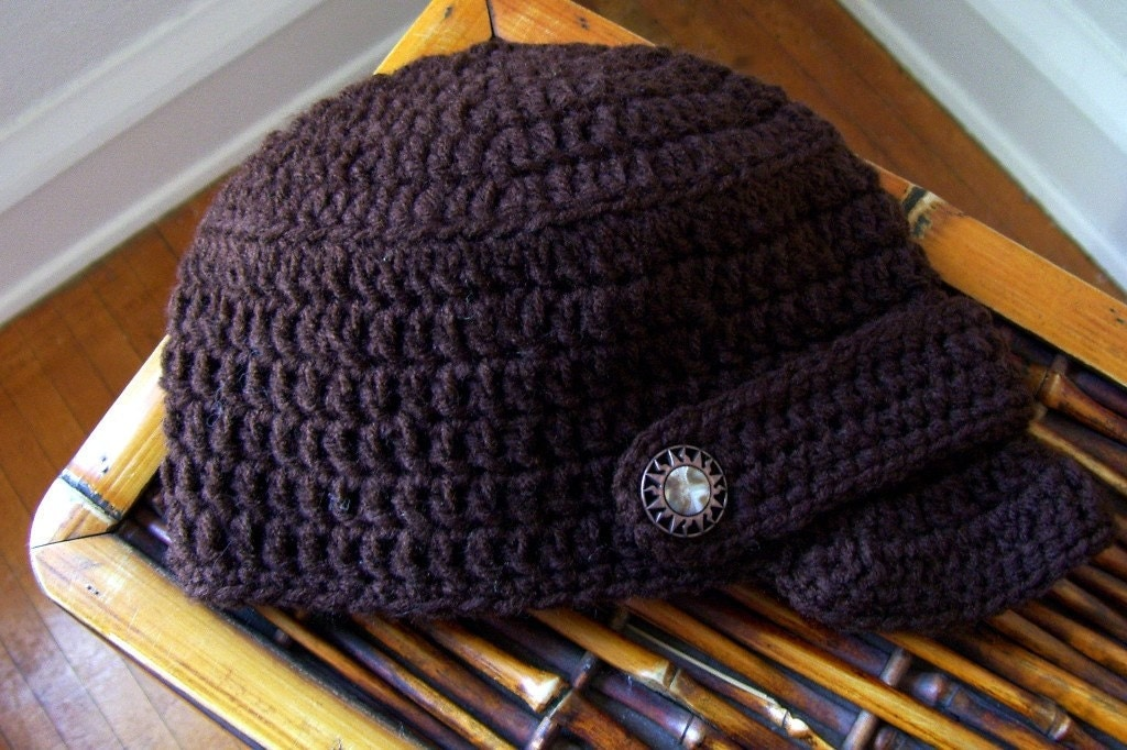 Crocheted Newsboy Hat Coffee