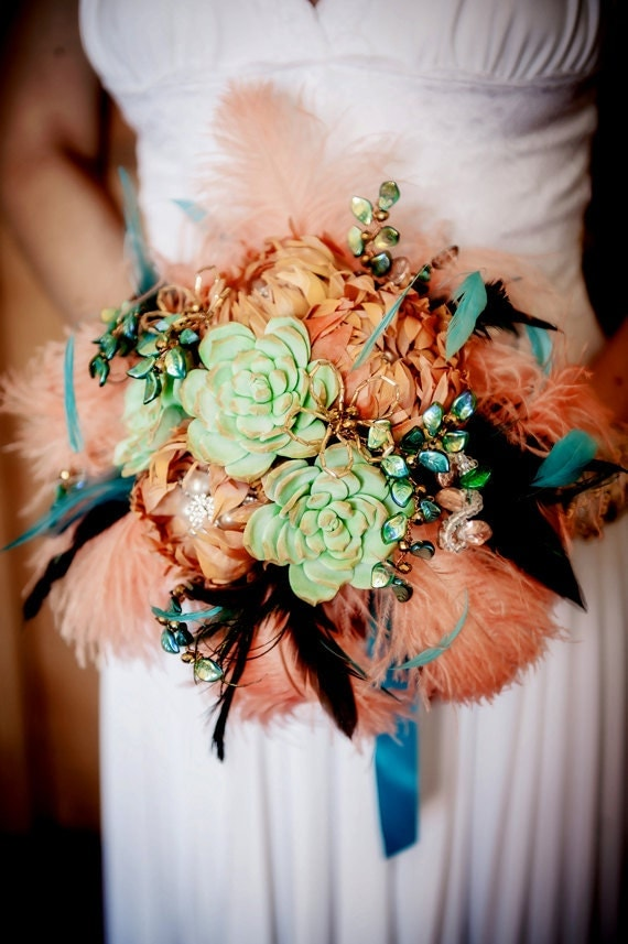SALE  Feather Bouquet  orange turquoise teal peach with one buttonhole included