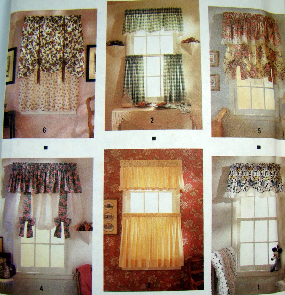 Curtain Sewing Pattern, Valances, Cafe Curtain, Tie-Up Curtain ...