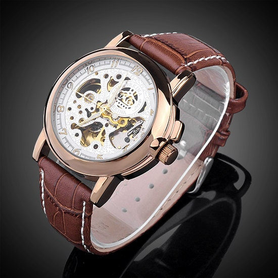 Steampunk Mens Gear Watch Brown With White Face Genuine Leather