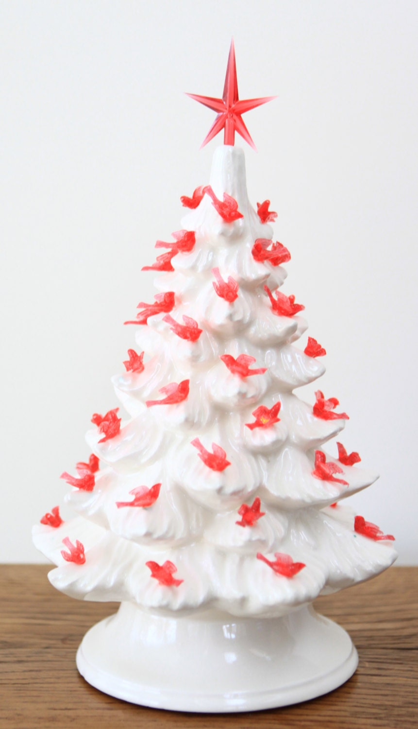 Unavailable listing on etsy Red white christmas tree