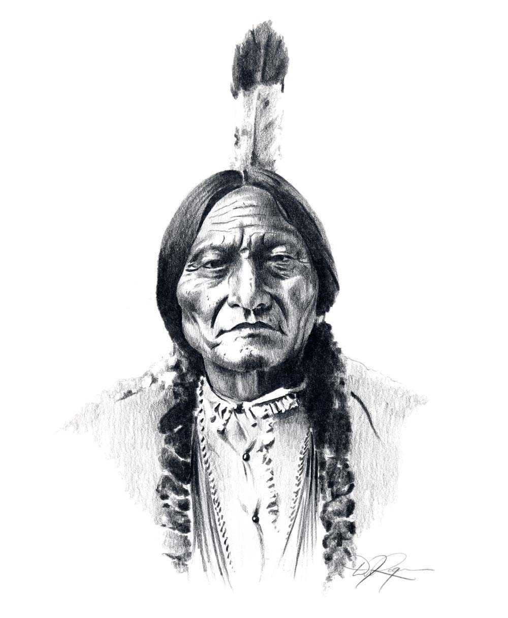 Chief Sitting Bull Pencil Drawing American Indian By