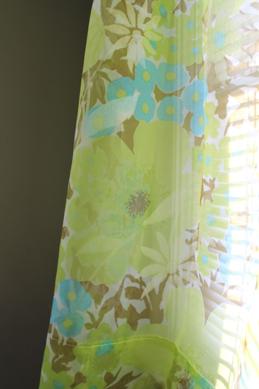 Curtains sheer floral turquoise lime green brown 9 panels