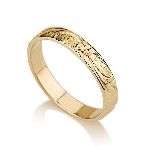 Thin 14k Gold Flower Wedding Band Ring Yellow Gold Wedding Ring