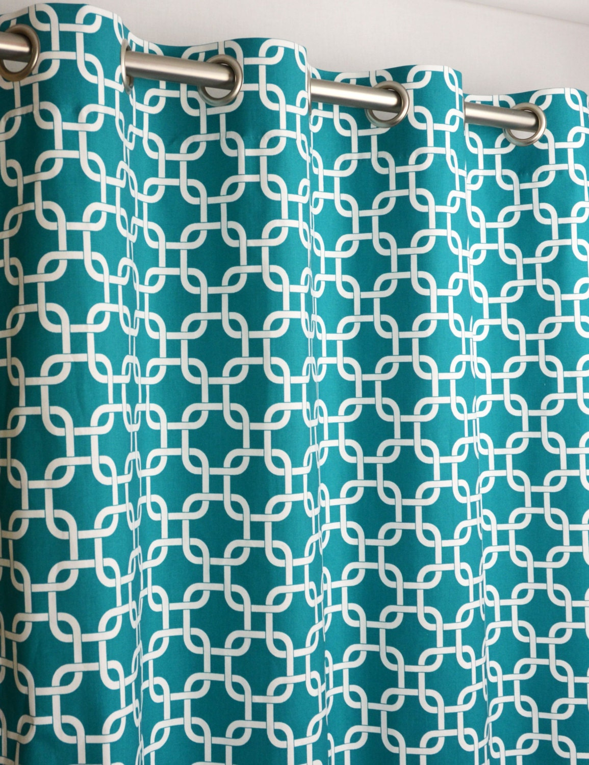Pair Of Grommet Top Curtains In True Turquoise And By Zeldabelle