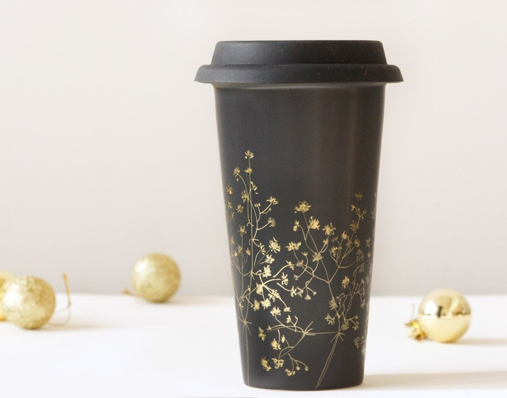 Black Ceramic EcoFriendly Travel Mug Gold Babys by yevgenia