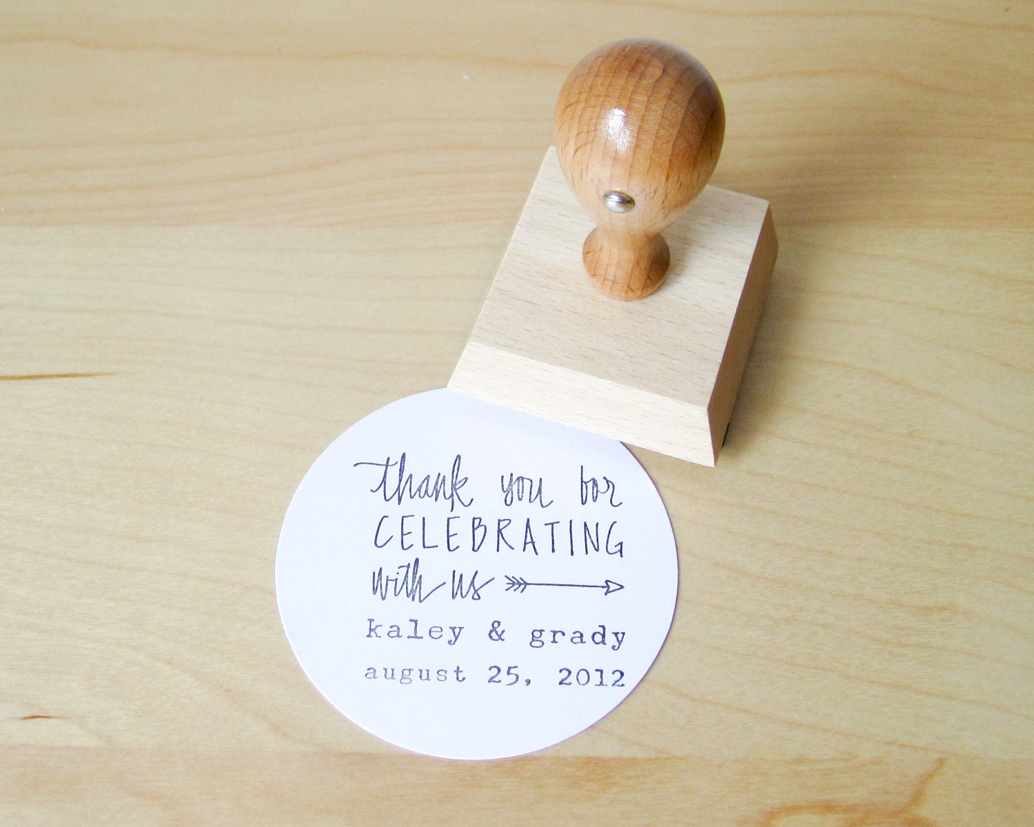 Custom Wedding Calligrapy Stamp - 2 inch Thank You For Celebrating With Us personalized rubber stamp for DIY wedding favors