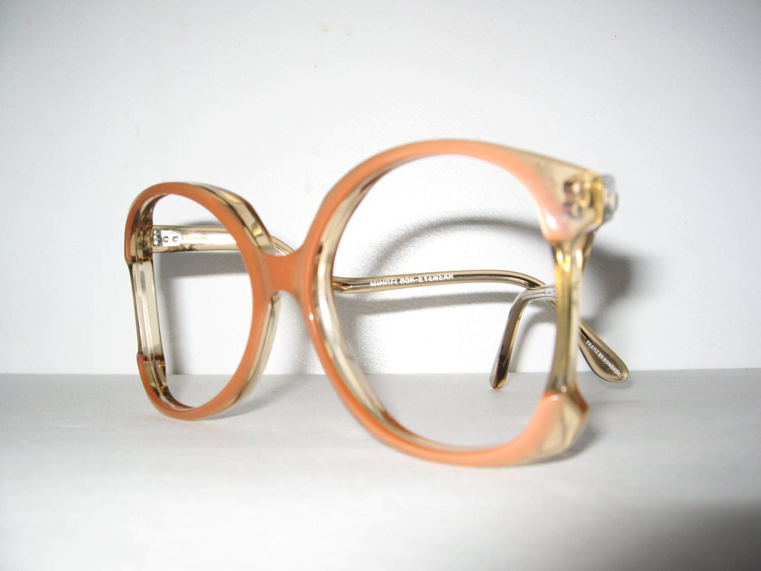 vintage 1970s glasses frames coral pink butterfly by