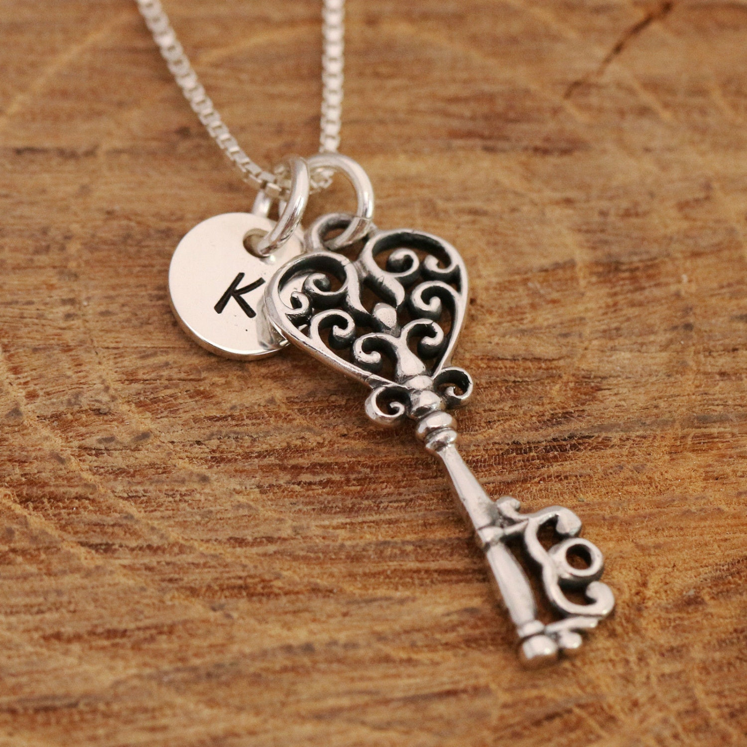 Bespoke Personalised Sterling Silver Antique Heart Bow Key Personalized Pendant Necklace Birthday Present Comes Gift With Box