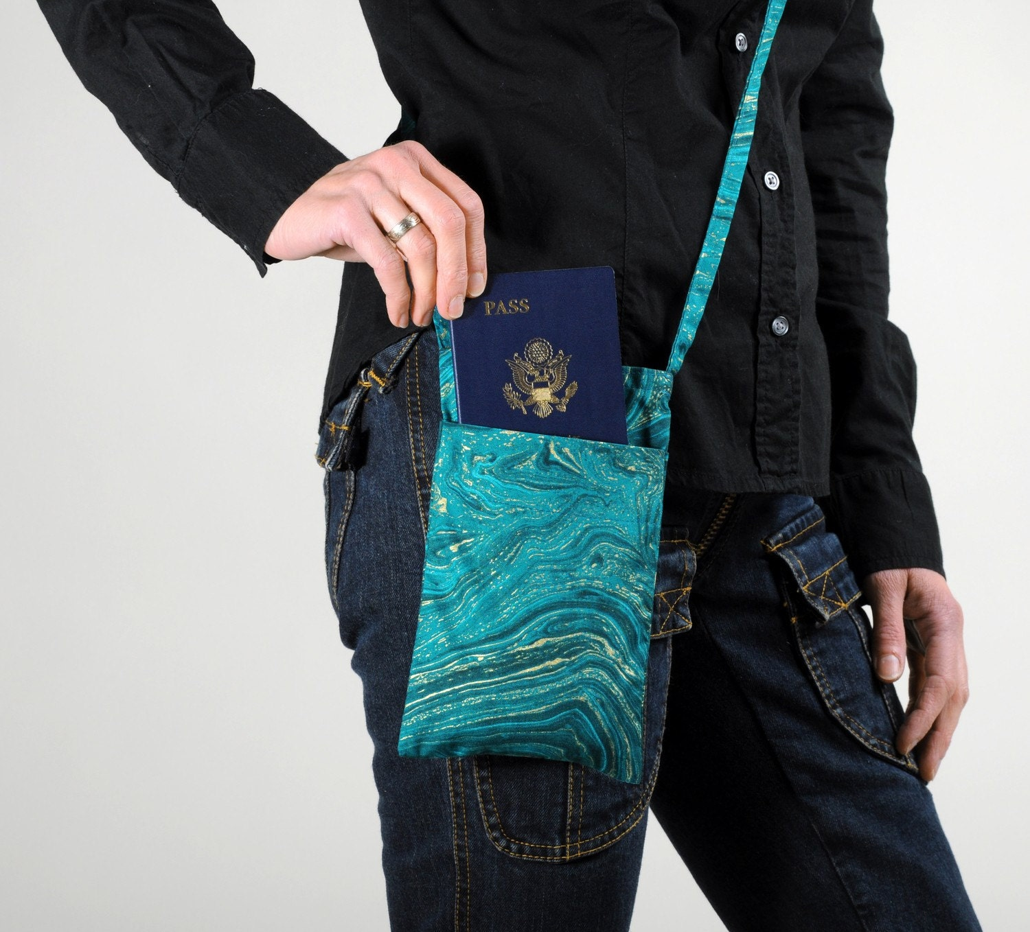 Shoulder Bag-Passport Bag-Marbled Blue Print