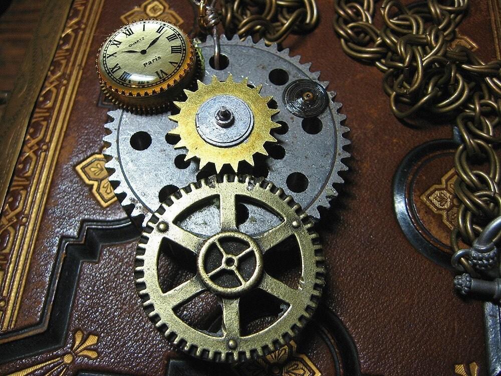 代购●蒸汽朋克机械齿轮时钟*国外原创设计手工