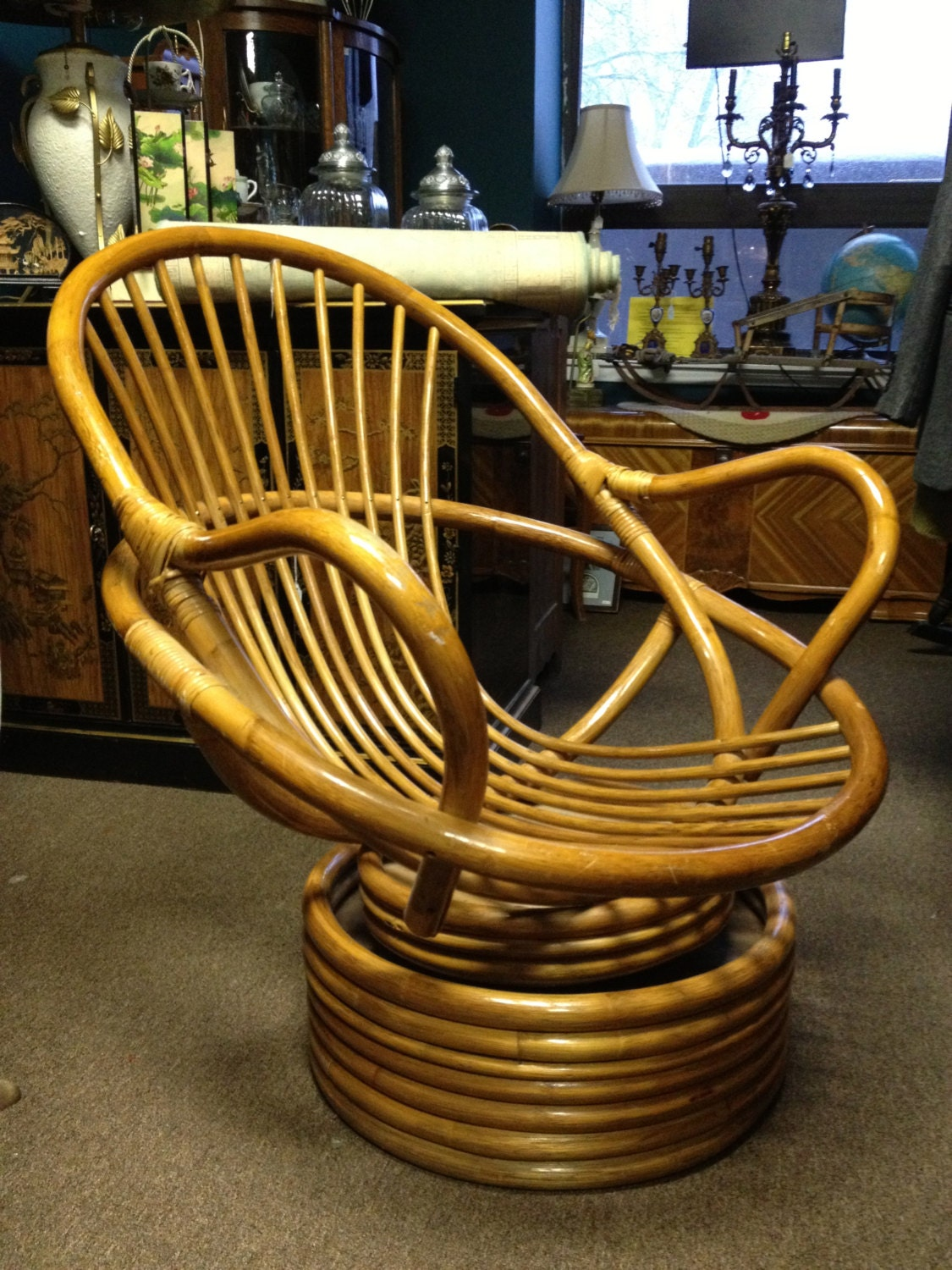 Mid century modern rattan wicker bent wood by for Bent bamboo furniture