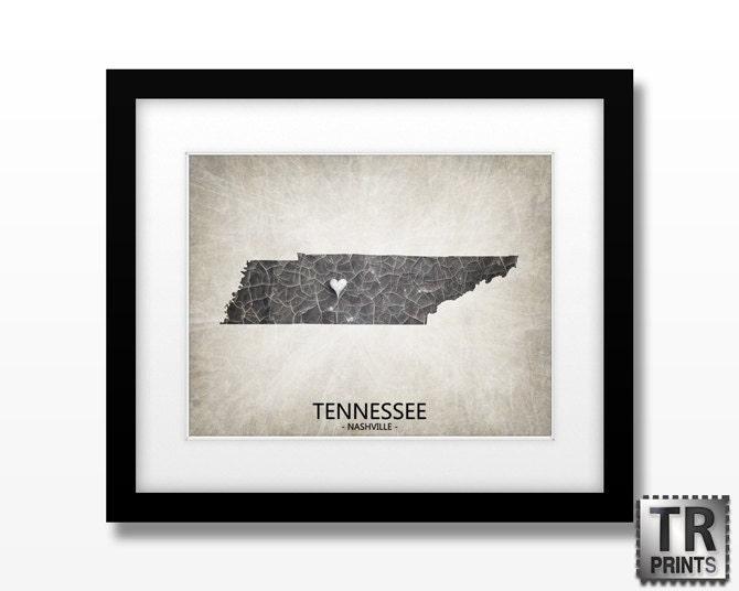Tennessee State Map Art - Original Home Town Love Map - Custom Map Art Print 11x14 - TRPrints