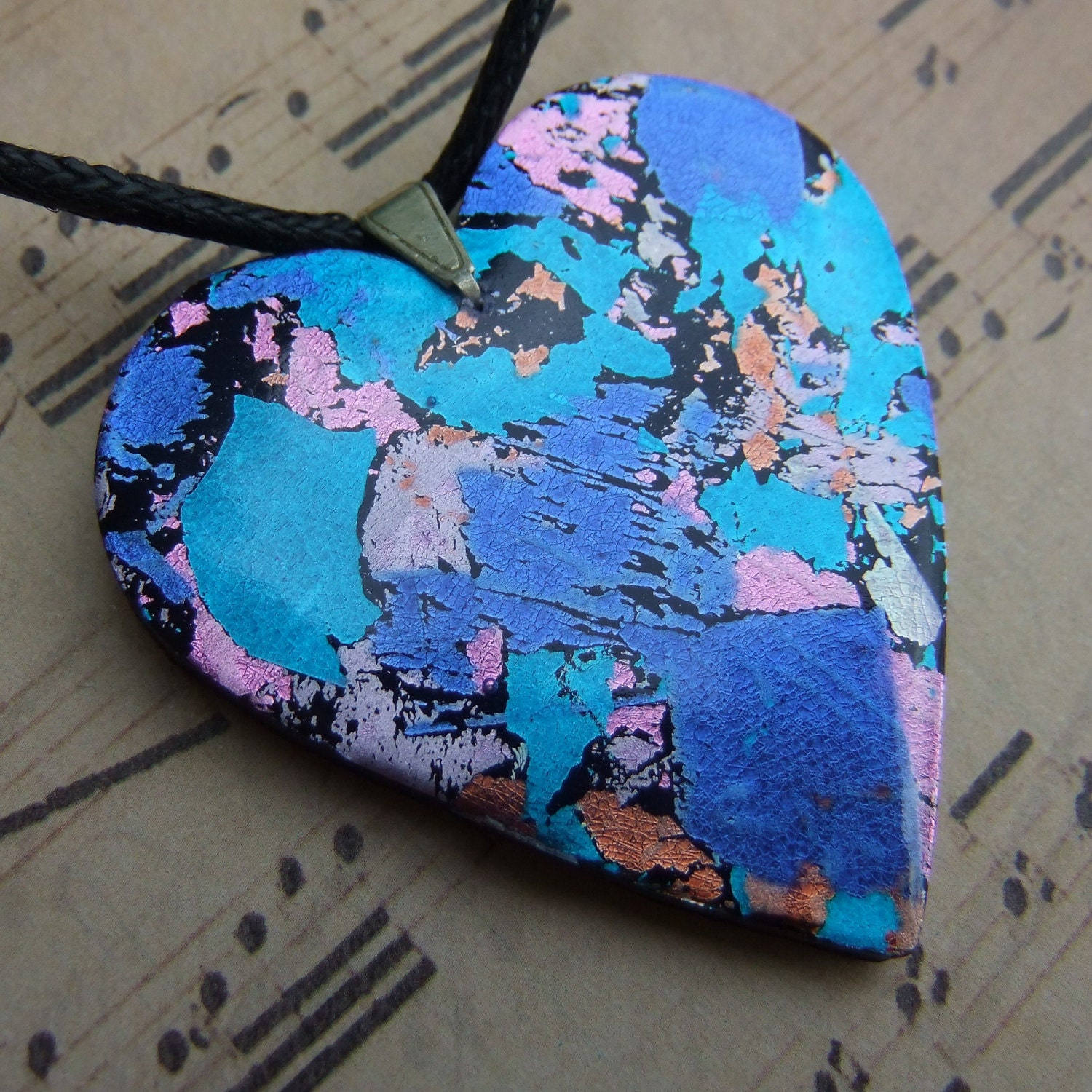 Confetti foil heart mixed media polymer clay pendant in blue, pink and orange (0168)