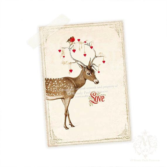 Deer Print, Aceo, Giclee Art Print, Woodland, Love, Red Hearts, Antlers, Robin, Christmas, Digital Art Print - CafeBaudelaire