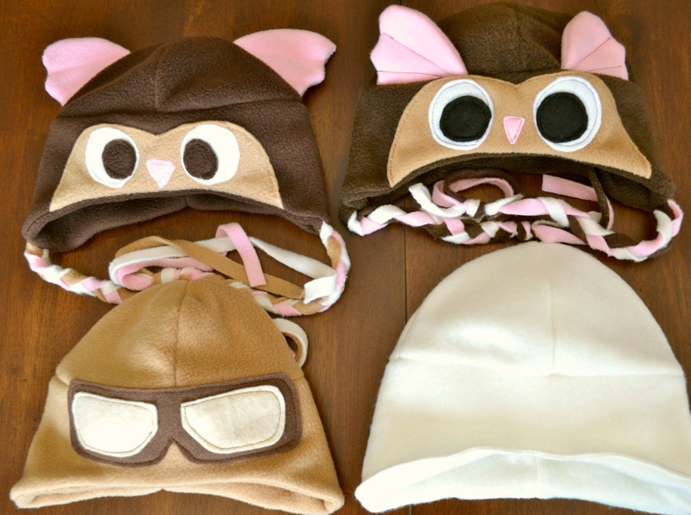 Fleece Aviator Hats, Owl and Aviator Goggles, sizes 0-8