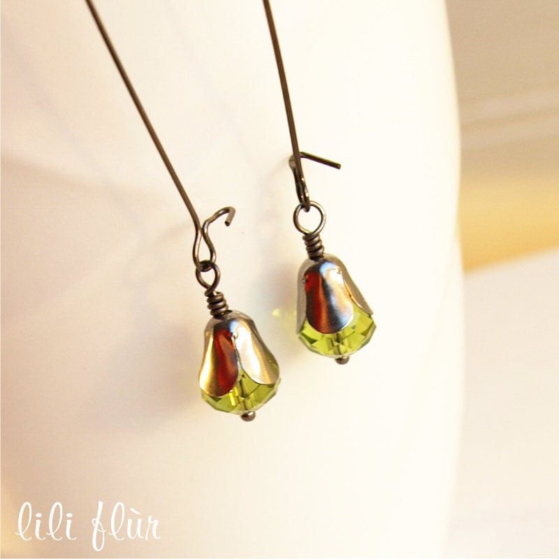 Gunmetal Earrings - Olivine Crystal Beads Cupped in a Tulip