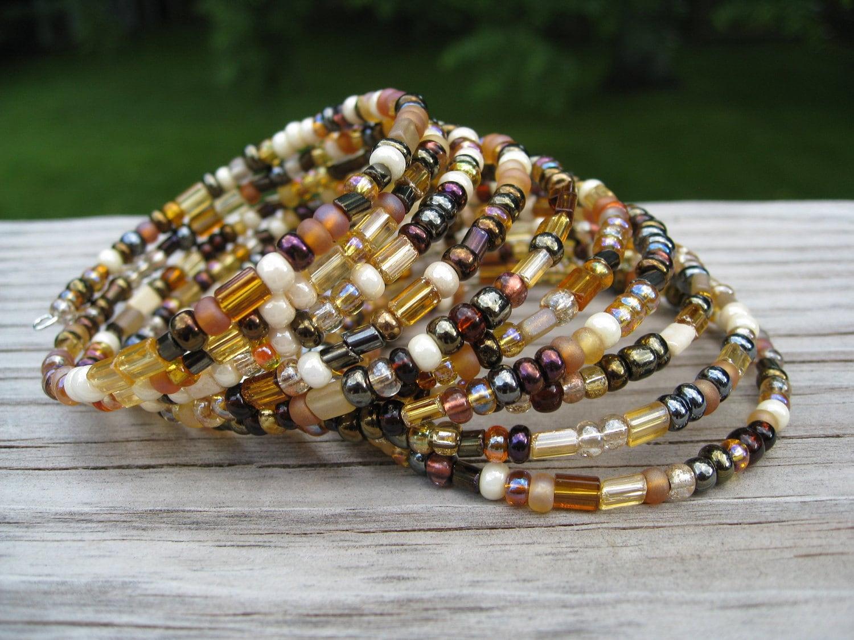Sweet Amber - slinky bracelet 10 loops