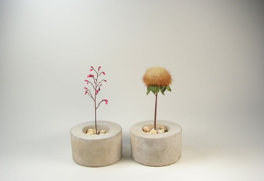 Mini Round Concrete Pot - set of 2 - roughfusion