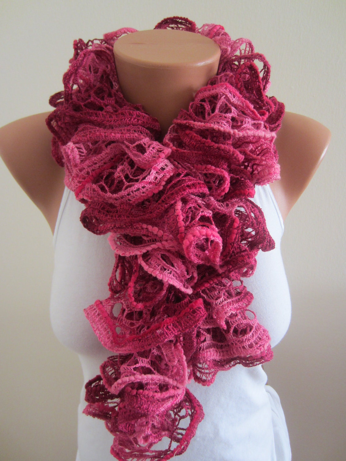 Free Shipping ,Scarlet Ruffle Scarf,  Scarlet Scarf, Mothers Day
