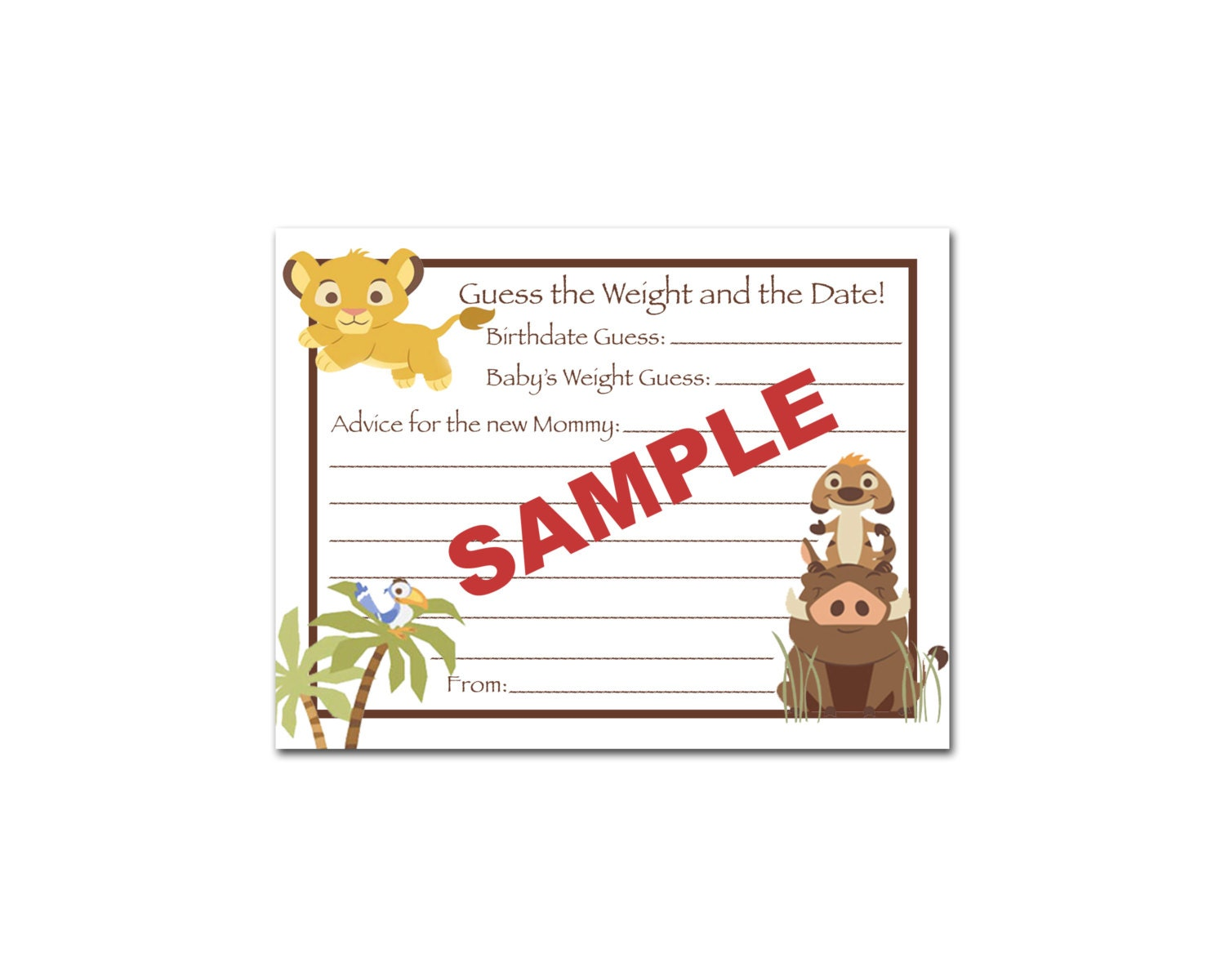 24 printed lion king baby shower guess the weight by bdesigns4you