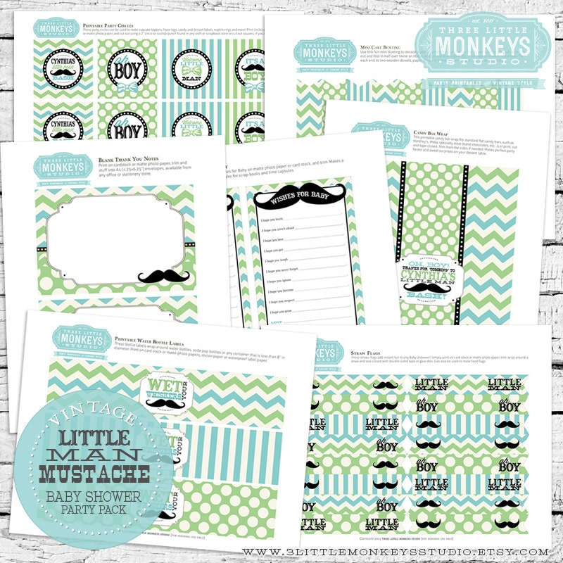 Vintage Little Man Mustache Baby Shower Party Pack Only - No ...