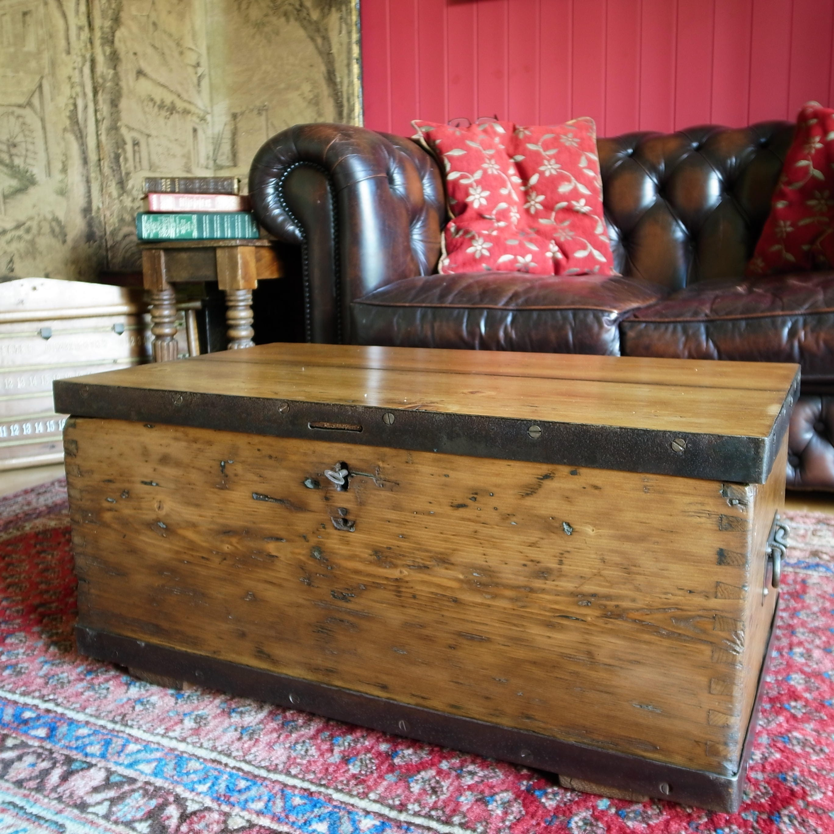 RUSTIC INDUSTRIAL CHEST Storage Trunk Coffee Table Reclaimed Wooden Furniture Vintage 1940s Military Chest Tv Stand