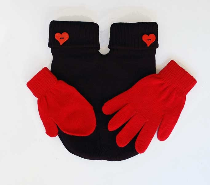Parent and Child Smitten Mitten (for holding hands when its cold outside) comes with a parent size Glove and a kids size mitten, Free Card