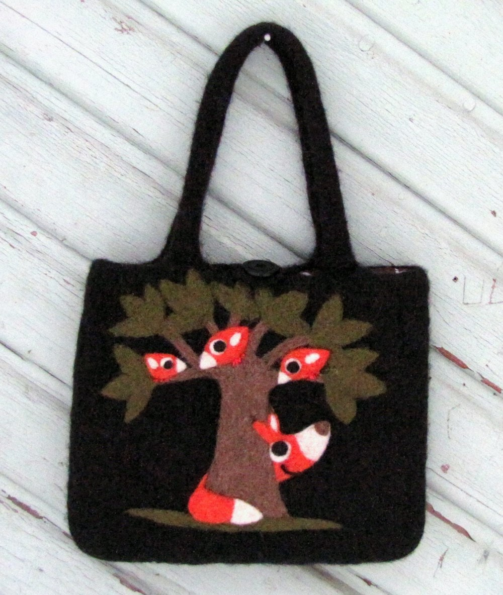 Felted bag purse black wool pouch handbag tote hand knit needle felted fox and birds in tree - HandmadebyMia