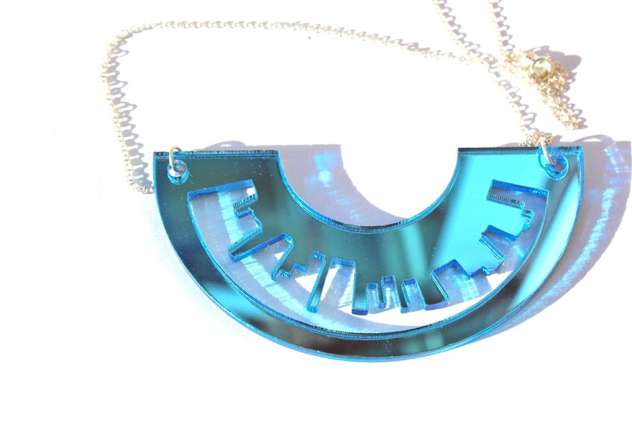 Sky Blue Necklace Skyline Laser Cut Mirror Acrylic Perspex on Sterling Silver Chain London New York Inspiredererr - TaraMacJewellery