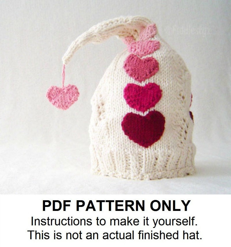 Knitting Pattern Of The Day : Knit Hat Knitting Pattern Valentines Day Hat by ...