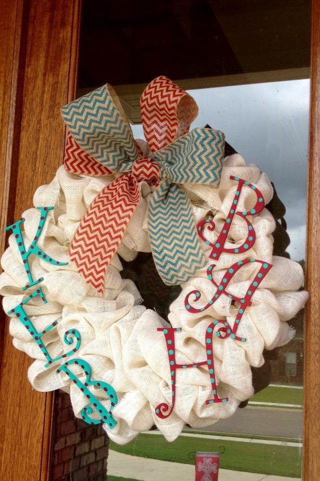 Personalized White Burlap Wreath Monogram by Frontdoorshowcase ~ 170956_Etsy Dorm Room Ideas