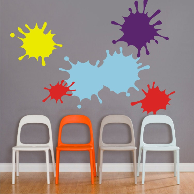 Ink Splotch Vinyl Wall Decal Set Paint Splatter Art Room