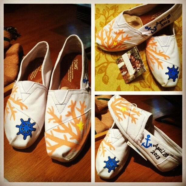 White Custom Handpainted Wedding Toms ANCHOR wheel NAUTICAL MARINE coral ocean painted toms